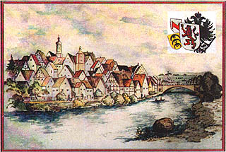 alte Postkarte mit Stadtansicht
