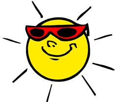 strahlende Sonne mit Sonennbrille